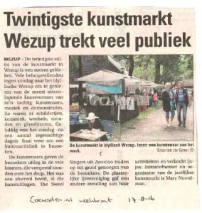 160817 coevorder nl weekkrant 20e kunstmarkt wezup trekt veel publiek