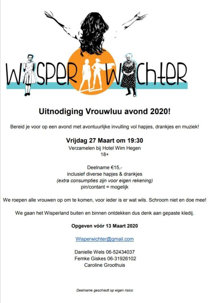 uitnodiging wisper wichter vrouwluu avond 27 maart 2020. Aanmelden voor 13 maart a.s.